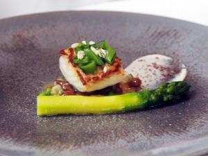 Cornish Turbot with Broccoli Stem, Crab and Black Quinoa
