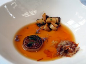 Hampshire Buffalo Milk Curd and a Broth of Grilled Onions
