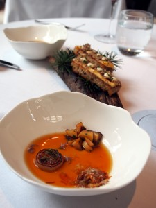 Hampshire Buffalo Milk Curd with Saint-Nectaire, Truffle Toast and a Broth of Grilled Onions