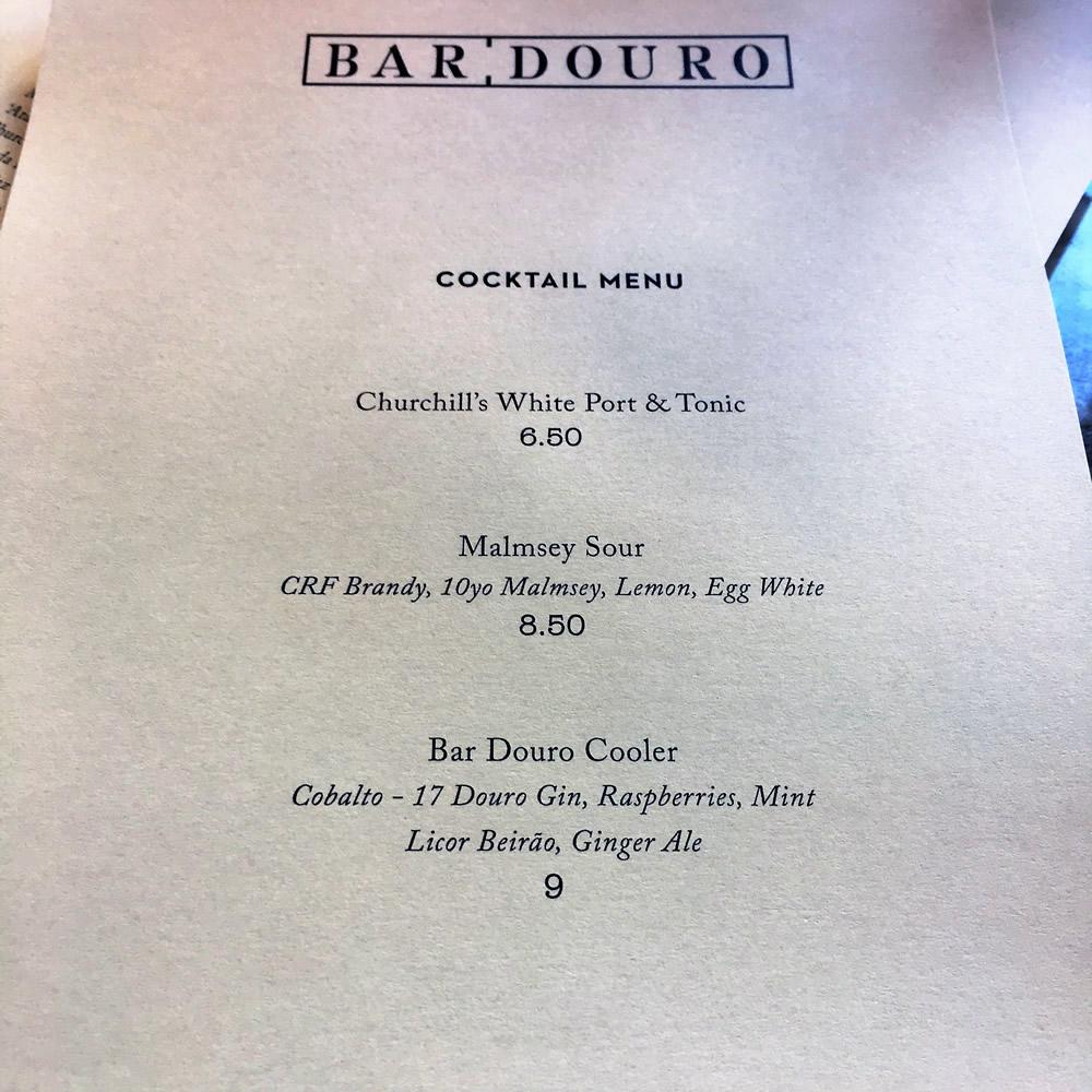 cocktail menu   Bar Douro   Yvanne Teo